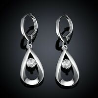 Fashion wedding party Silver 925 charms Crystal women lady solid Earring Jewelry