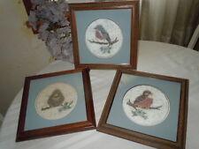 VINTAGE DELIGHTFUL SET OF 3 FRAMED & DOUBLE MATTED MARNIE DAHL BATIK BIRD PRINTS