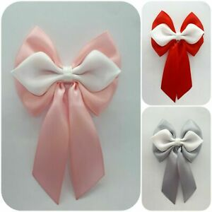 Set of 3 Large Satin Ribbon Bows With Tails Baby Shower Pink Blue 9 x 13.5 cm .
