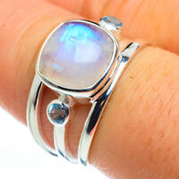 Rainbow Moonstone, Blue Topaz 925 Sterling Silver Ring Size 8 Jewelry R45747F