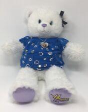 Build A Bear Hannah Montana White Plush Miley Cyrus Blue Shirt Heart Necklace
