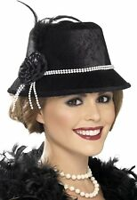 1920's Charleston Flapper Hat with Beads and Flower - Black