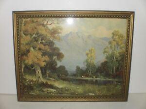 VINTAGE ART PRINT 1920'S MOUNTAIN SCENE