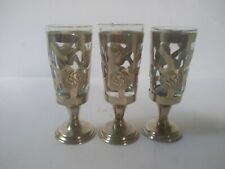 Etched Silverplate Glass Liquor Shot Glasses Set of 3