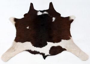 """Rare Cowhide Rugs Calf Hide Cow Skin Rug (24""""x27"""") Dark Brownish White CH8395"""