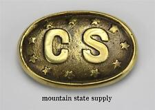 U.S. Civil War South Confederate States of America CS & Stars Brass Belt Buckle
