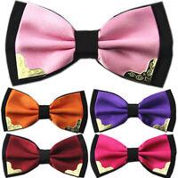 HN- Mens Boys Bow Tie Satin Solid Plain Wedding Adjustable Bowtie Necktie