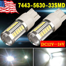 2x White 7443 5730 33-SMD LED Light Bulbs Backup Reverse Turn Signal 7440 7444NA
