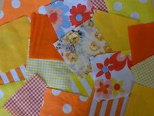 "100 x 4"" Fabric Remnant Bundle patchwork squares Yellow & Orange Craft Sewing"