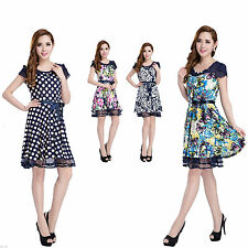 Casual Crew Neck Floral Dresses Size Petite for Women