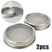2* Stainless Steel Mason Jar Strainer Seed Sprouting Lids for Regular Wide Mouth