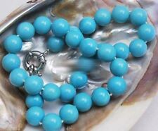 Natural 10mm Round Turquoise Blue South Sea Shell Pearl Necklace 18''
