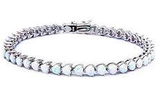 White Fire Opal Heart .925 Sterling Silver Bracelet