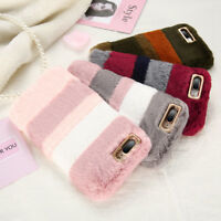 New Winter Warm Soft Furry Rabbit Fur Case Cover Holder for iPhone X 7 6s 8 plus