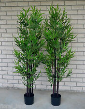 2x Artificial Trees Black Bamboo Fake Plant Green Latex Tree 6ft 180cm High