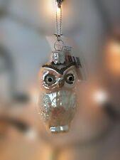 Gisela Graham Painted Glass Owl Sparkle Woodland Bird Ornament Christmas