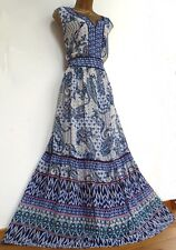MONSOON ✩ STUNNING TARA BLUE IVORY PAISLEY BOHO SUMMER MAXI DRESS ✩ UK 20 PETITE