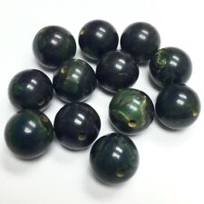 Vintage Bakelite Beads - 9mm Marbled Green with a Blue Tone Smaller - 19596