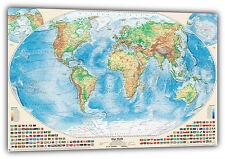 Physische Weltkarte mit Flaggen, 150x100 cm, deutsch