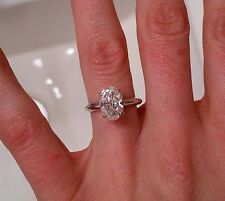 2.00 ct GIA E VVS1 natural oval diamond engagement solitaire ring platinum