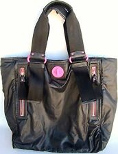 Juicy Couture Black & Hot Pink Tote Handbag Soft Polyester Body Nylon & Leather