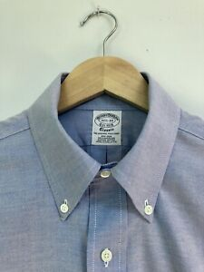 Brooks Brothers men's button down collar shirt blue chambray size 15.5/33