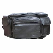 Genuine Leather Large Fanny Pack Waist Bag with Cell Phone Holder & Organizer