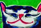 "ACEO Original ""Sleepy Smile Cat"" Acrylic 2.5 x 3.5 Painting Samantha McLean"