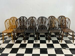 Lot of 12x solid oak / elm wood wheel back dining chairs ideal pub etc -Delivery