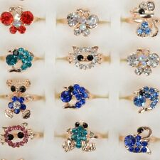 10Pcs Wholesale Mixed Lots Cute Cartoon Children/Kids Crystal Rings Jewelry Hot