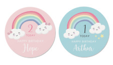 24 Personalised Rainbow Happy Birthday Stickers - Pink or Blue - Party Bags