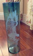 """VTG Etched Crystal Cylinder Vase, Flying Eagle 15"""" Tall, Shaded Green Excellent!"""