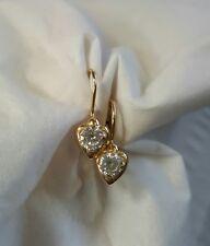 14k yellow gold lever back clear heart earrings