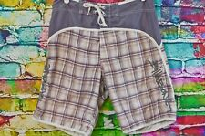 Billabong Gray and Brown Plaid Swim Trunks - Size 34