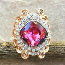 Elegant Ruby White Topaz 18K Gold Plated Wedding Engagement Ring Size 5