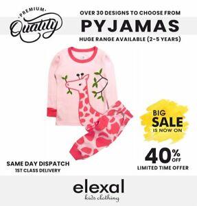 Girls Boys Pure Cotton Pyjama Set Sleepsuit Bodysuit 3-5y Giraffe Kids Snug Fit