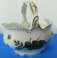 Vintage Limoges France Hand Painted Basket Porcelain Gold Trim Leaf Pattern