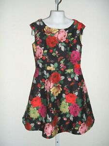 Ted Baker Designer Creation Multi-color Floral Roses Dress Girls Size 8