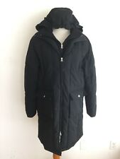Larry Levine Long Down Puffer Coat Black Removable Hood Size L