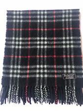 Genuine BURBERRY BURBERRY S VINTAGE carreaux bleu noir cachemire très bon  écharpe 2ffc25b9b77