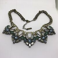 BaubleBar Crystal Large Brass Chain Necklace Signed Blue Green Rhinestone