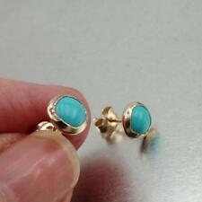 Hadar Designers 7mm Turquoise Stud Earrings Handmade 14k Yellow Gold filled (v