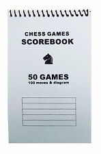 Softcover Chess Scorebook - Record 50 Games – Blank Diagrams - Blue Score Book