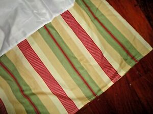 "WAVERLY LAUREL SPRINGS PARCHMENT STRIPES GREEN RED GOLD QUEEN BEDSKIRT 15"" DROP"