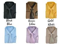 New Men's French Cuff Dress Shirt + Matching Tie &Handkerchief Spread Collar #27