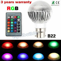 B22 RGB 5W Dimmable LED Light Bulbs 16 Colour Changing Party Club KTV Mood Lamp