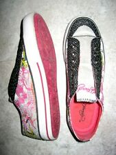 ED HARDY SHIMMER Pink & Black Canvas Multi Color Laceless Sneakers Size 7  EUC
