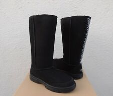 UGG BLACK ULTIMATE TALL BRAID SUEDE/ SHEEPSKIN BOOTS, WOMEN US 6/ EUR 37 ~NEW