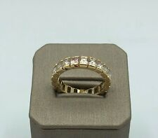 14k Solid Yellow Gold Eternity Ring Cubic Zirconia
