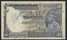 BRITISH INDIA 10 RUPEES P16 B 1928 KING GEORGE V KELLY SIGN ELEPHANT TIGER NOTE